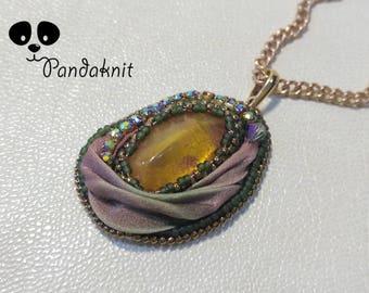 Amber Pendant Little Pendant Amber Shibori Amber Necklace Little Shibori Shibori Jewelry Shibori Necklace Embroidery Pendant Shibori Gift