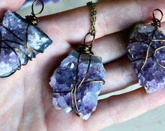amethyst necklace layering necklace Gemstone Necklace raw crystal necklace crystal healing amethyst jewelry Silver necklace Chakra Jewelry