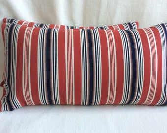 Patriotic Striped Lumbar Pillow Covers - Red/ White/ Blue Denim - 2pc Set - 12x22 Covers