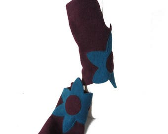 Polar mitts blue and plum duck - Flowa collection