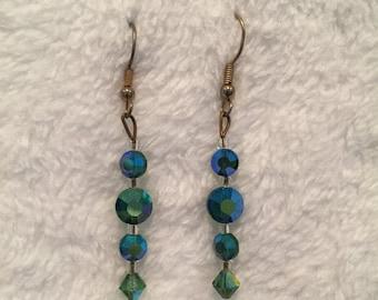 "25%OFF Aurora Borealis (Blue / Green) Crystal fishwire Earrings - 1&1/2"" drop - 1950's - #17038"