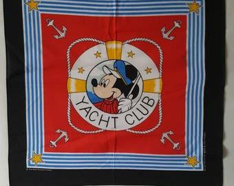 Mickey Mouse yacht club banana scarf 19 x 20 Walt Disney co. Made in USA
