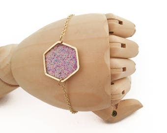 Hexagon bracelet / Geometric bracelet / Pink leather Hexagonal bracelet
