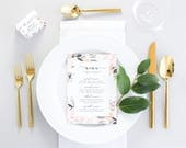 Printed Wedding Menu - Pink Wedding Menu Printable - Floral Wedding Dinner Menu - Wedding Menu Cards - Menu PDF - Digital Wedding Menu