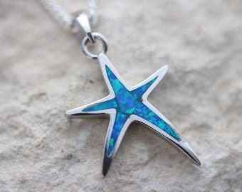 Blue opal starfish. Sterling silver starfish necklace, Starfish pendant necklace choose chain, Silver starfish Necklace.