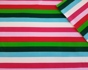 Christmas Rainbow Stripes Cotton Lycra Jersey Knit Fabric
