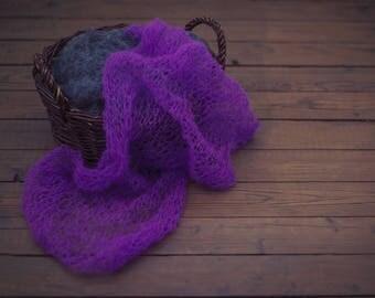 Purple newborn wrap/lace props/newborn knit wraps/newborn lace wrap/newborn photo prop/newborn prop/newborn stretch wrap/newborn wrap