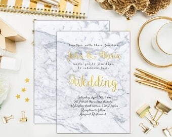 Marble wedding invitation Gold foil wedding invitation Marble gold wedding invitation Printable Marble wedding invite Marble wedding invite
