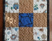 Quilted Mug Rug, Blue and Tan Mug Rug, Snack Mat, Candle Mat, Secret Sister, Teacher, Hostess, or Co-Worker Gift, FREE SHIPPING!