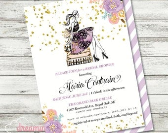 Jet Setter Traveler Bride - Bridal Shower Invitation - Chic and Pretty - Optional Backside Print