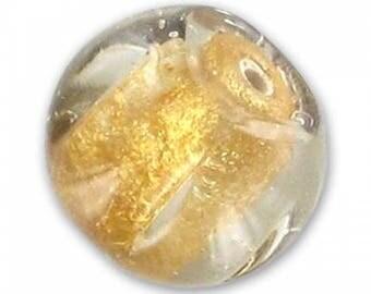 Indian glass bead handmade 15 mm gold foil