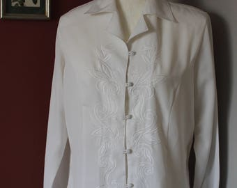 Vintage Claudia Richards White Floral-Detailed Long Sleeve Blouse