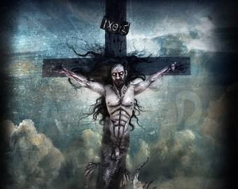 Mermaid Christ - limited edition signed metallic digital print