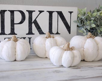READY TO SHIP Set Of Four white, Sweater Pumpkins, fabric pumpkins, pumpkin patch, pumpkin spice, pumpkin, fall decor, fall, neutral, 11