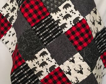 Baby Boy Quilt-Rustic Baby Quilt-Deer Baby Quilt-Baby Boy Crib Bedding-Woodland-Buffalo Red Plaid-Bear-Arrow-Trees-Modern Baby Blanket