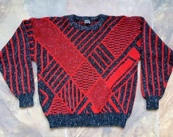Vintage XL Red And Black Sweater
