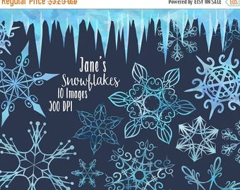 50% OFF Watercolor Snowflakes Clipart - Seamless Icicle Border Download - Instant Download - Blue Winter Illustrations