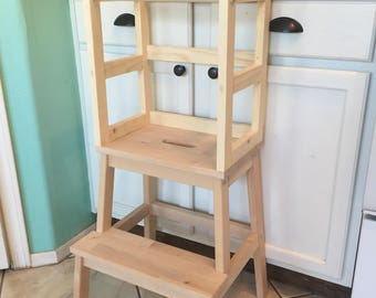 Montessori Kitchen Helper stool / toddler tower / wood step stool, learning tower - Unfinished/Not painted