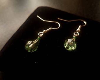 Light Green Crystal teardrop Earrings