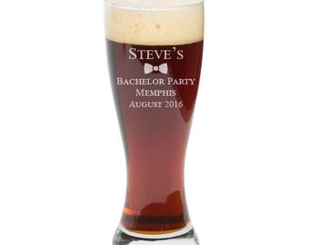 Bachelor Party Gift, Personalized Pilsners, Engraved Beer Glasses, Custom Beer Glass, Beer Gift, 23 oz
