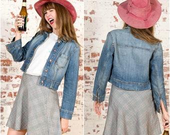 Vintage Cropped Denim Jacket / 90s / Size S-M