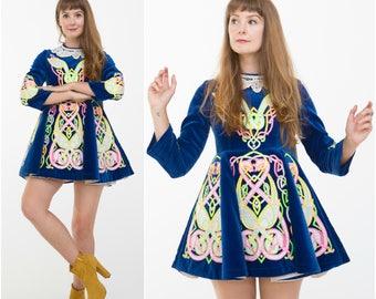 Celtic Folk Dress / Neon Irish Dance Costume / Size XS