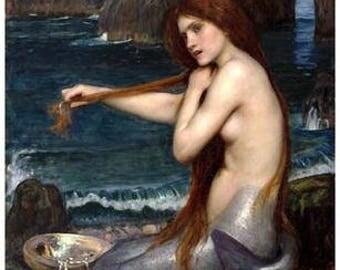 John William Waterhouse Mermaid Art  Rare Vintage Poster