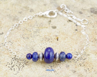 """Bracelet """" Adel """" en plaqué argent 925 et lapis lazuli"""