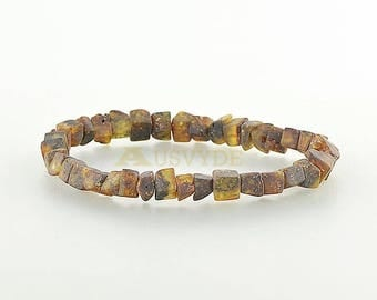 Unique raw amber bracelet, Raw beads, Baltic amber style jewelry, HG073