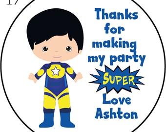 24 Superhero Thank You Birthday Stickers