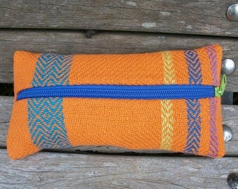 handwoven pencil cases for pens and small things, orange blue purple green, pumpkin, linen cotton, to organize in a handbag