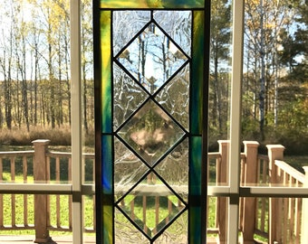 Art Deco stained glass panel, sun catcher, small stained glass window, home decor, Beveled glass, Christmas gift, blue and yellow glass