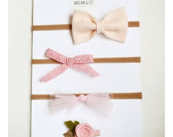 Pink Baby Bow Headband Set / baby headband / baby girl hair bow /