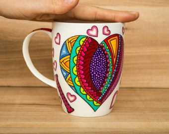 I love you mug Heart mug Big heart coffee mug Valentines day gift Big mug Multicolored mug Love mug Multicolour heart Girlfriend gift