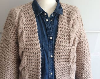Oversized Knit Cardigan Chunky Cable Knit Jacket Sweater