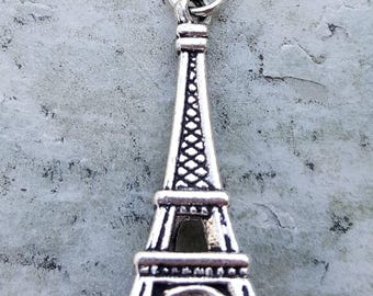 Silver plated Eiffel Tower charm pendant jewelry, charm bracelet necklace, antique silver charms, France french charms pendants jewelry,
