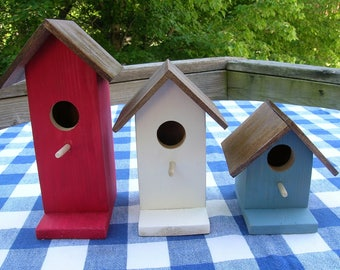 Cedar Birdhouses - Red, White, Blue - Patriotic, Decorative, Set of 3 - Fourth of July