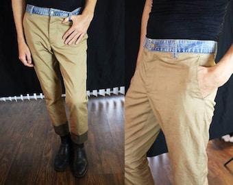 Margiela Contrast Khaki Pants with Light-wash Denim Waistband Size 31-32