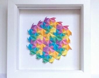 Colourful Origami Wall Art, Modular Origami Art, 3D Origami Wall Art, 3D Paper Wall Art, Geometric Paper Art, Colourful Paper Art
