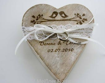 Wooden heart ring pillow cream vintage engraving