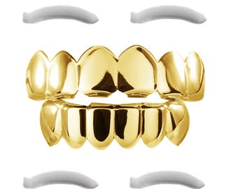 24K Gold Plated Grillz for Mouth Top Bottom Hip Hop Teeth