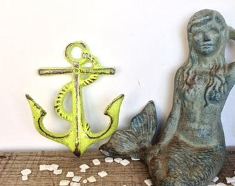 ON SALE Lime Green Anchor Hooks - Nautical Decor - Bathroom Wall Art - Necklace Holder -  Lime Green Decor - Beach Decor - Wall Necklace Hol