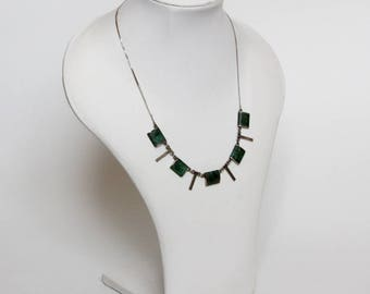 Vintage Modernist Sterling Silver Necklace with 5 malachite green stones