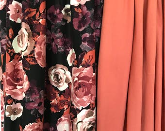 Cozy Lounge Pants/Black/Floral Print with shades of pink, orange, purple, and ivory