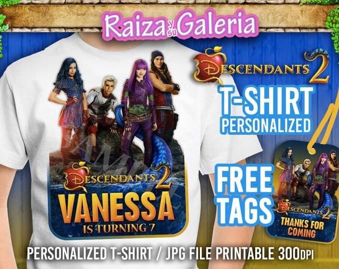 T-shirt Disney Descendants 2 Personalized - Iron On t-shirt transfers! + FREE TAGS Descendants 2