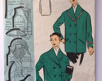 """Fabulous 50's french vintage sewing pattern :  Woman winter coat collar pockets - size 12 taille 40 """"Patron modele 58013"""""""