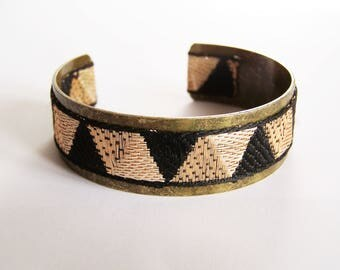 Brass and black, bronze and gold triangles Ribbon Cuff Bracelet