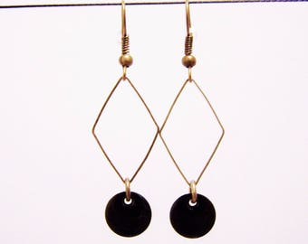 Diamond and black sequin earrings