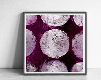 wall art abstract, Abstract Art Print, silver, purple, Colorful wall art , Bright and colorful, silver, violet,  boho art, circle, geometric