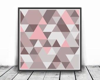 Abstract Art, Geometric Print, Modern Poster, Scandinavian Art, Printable, pink and grey, Triangles Art, Living Room Art, Digital